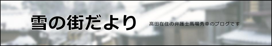 雪の街だより 高田在住の弁護士馬場秀幸のブログです